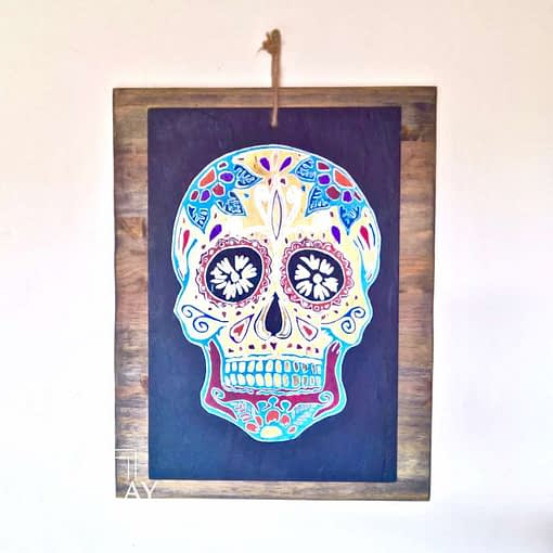 Guisplay Mexican Skull Gold Slate Framed3