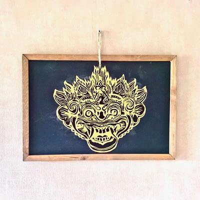 Guisplay Bali Barong Ardoise Slate Framed Wall Art Creations3
