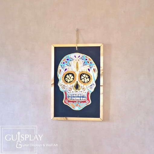Guisplay Mexican Skull Silver Slate Framed8