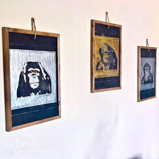 Guisplay 3 Wise Monkeys Ardoise Slate Framed Wall Art Creations5