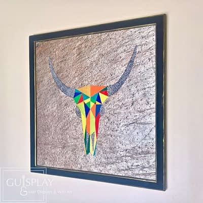 Guisplay Wall Art Creation Cow Stone Carved 7(watermarked)