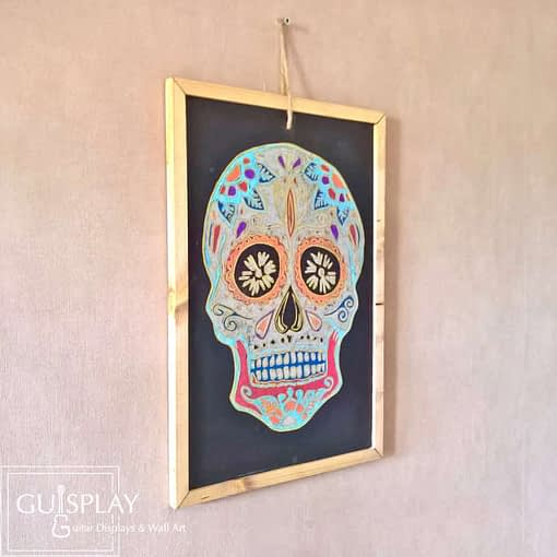Guisplay Mexican Skull Silver Slate Framed10 Wall art creation Handmade Handcrafted Oil painting Acrylique painting Unique One of a kind