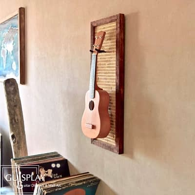Guisplay Tiki 1 Support Ukulele Display and Wall Art Framed Creation7(watermarked)